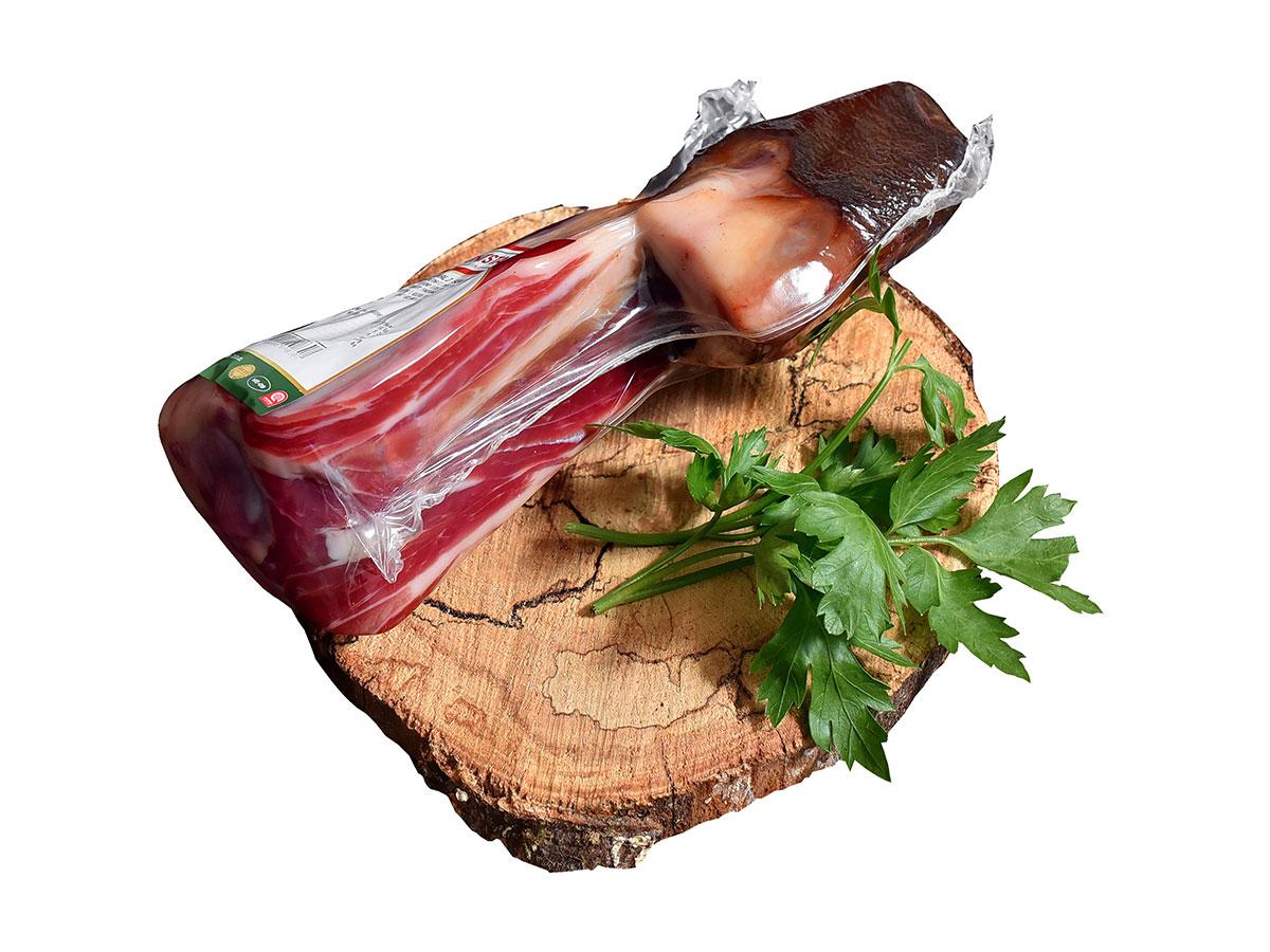 Dry-cured ham bone or hock vacuum-packed